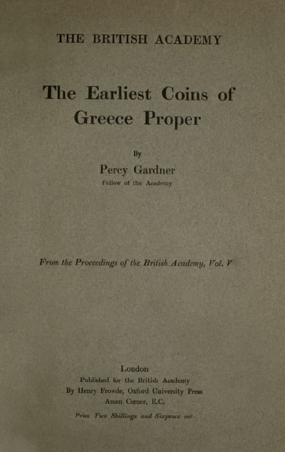 Gardner P. - The Earliest Coins of Greece Proper